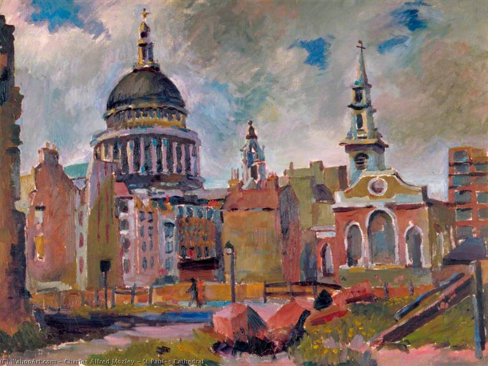 St Paul`s Cathedral, 1940 by Charles Alfred Mozley (1914-1991, United Kingdom) |  | WahooArt.com