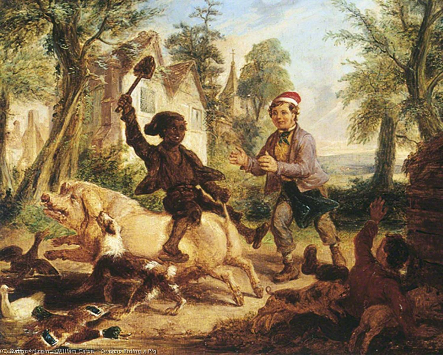 Sweeps Riding a Pig, Oil by William Carse (1800-1845)