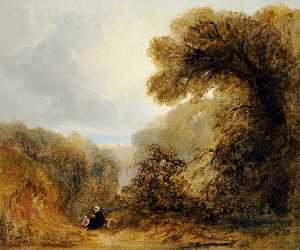 John Le Capelain - Wooded Scene with a View to the Sea