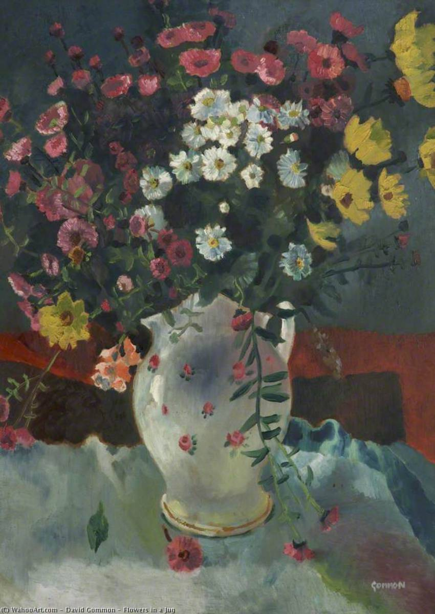 Flowers in a Jug, Oil On Canvas by David Gommon (1913-1987, United Kingdom)