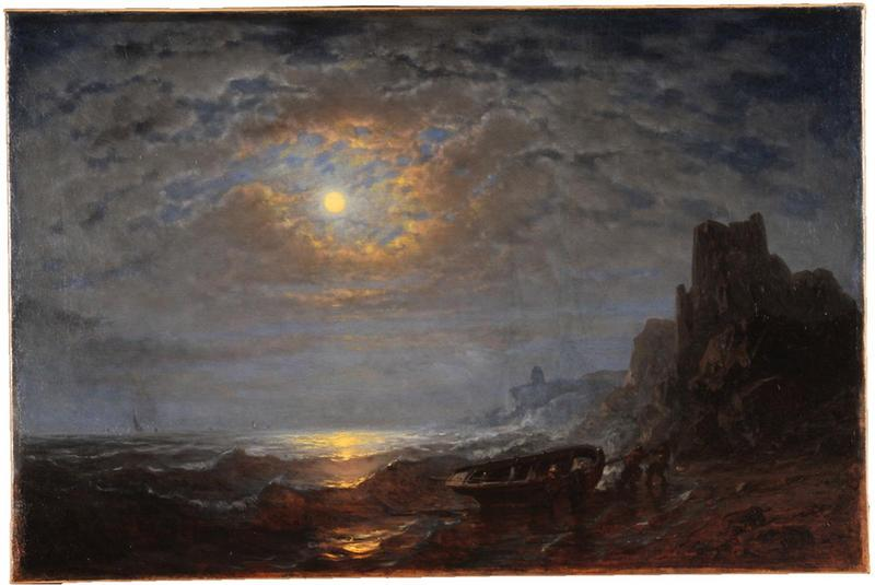 Marine au clair de lune, Oil by Amédée Rosier (1831-1914, France)