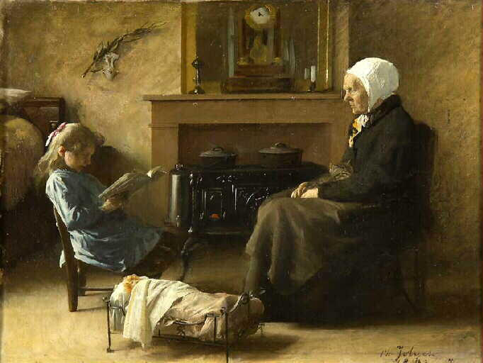 La Lecture, Oil by Jolyet Philippe (1832-1908)