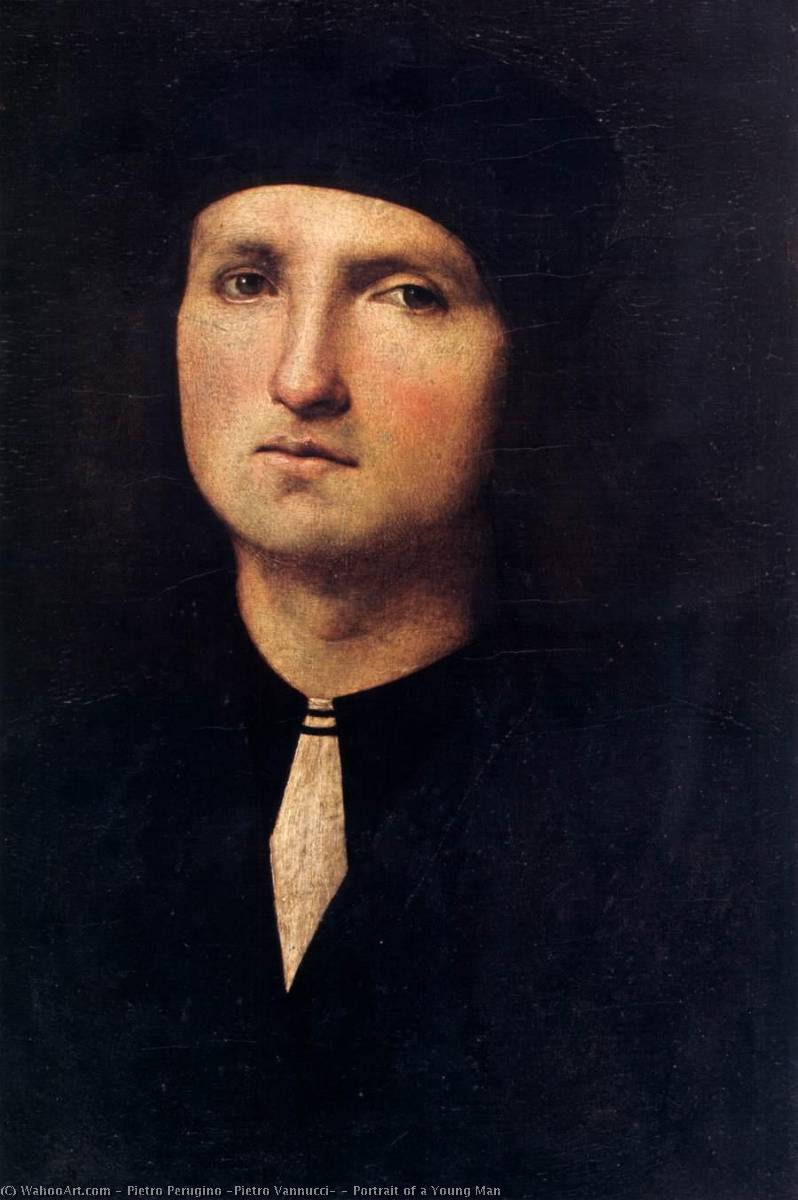 Portrait of a Young Man, 1500 by Pietro Perugino (Pietro Vannucci) (1446-1523) | Paintings Reproductions Pietro Perugino (Pietro Vannucci) | WahooArt.com