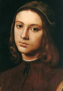Pietro Perugino (Pietro Vannucci) - Portrait of a Young Man (detail)
