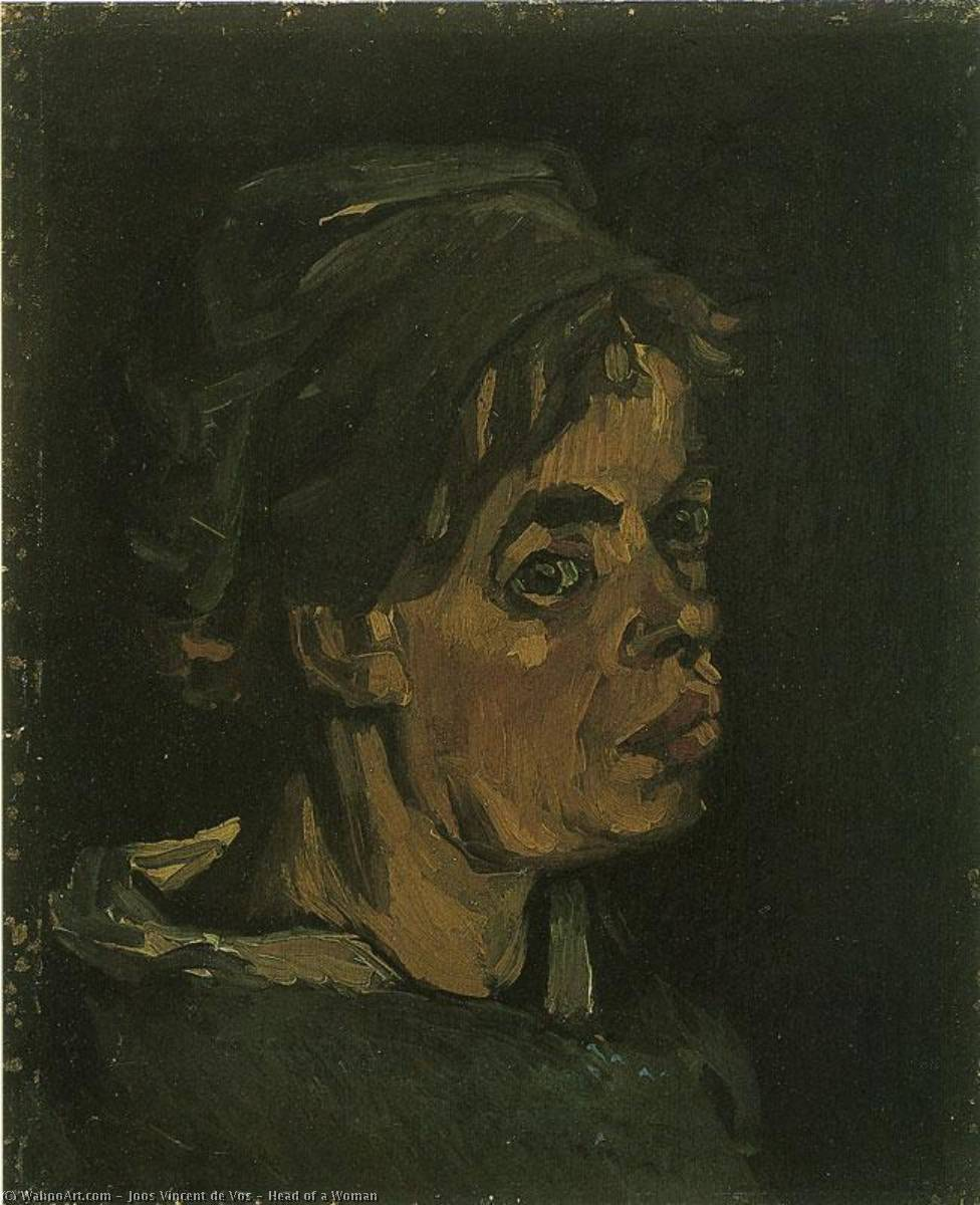 Head of a Woman, Oil On Canvas by Joos Vincent De Vos (1853-1890, Netherlands)