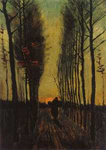 Joos Vincent De Vos - Lane of Poplars at Sunset