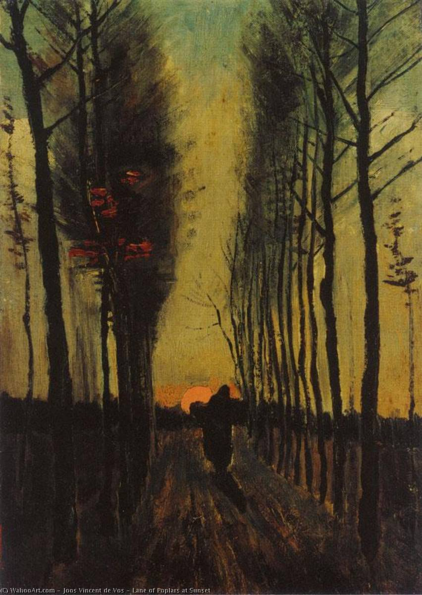 Lane of Poplars at Sunset, 1884 by Joos Vincent De Vos (1853-1890, Netherlands) | Oil Painting | WahooArt.com