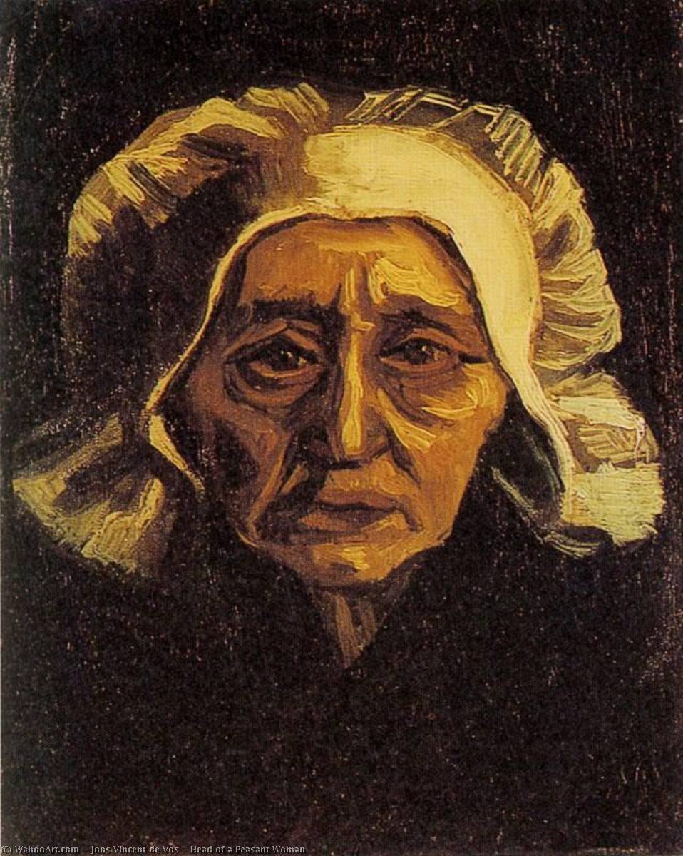 Head of a Peasant Woman, Oil On Canvas by Joos Vincent De Vos (1853-1890, Netherlands)