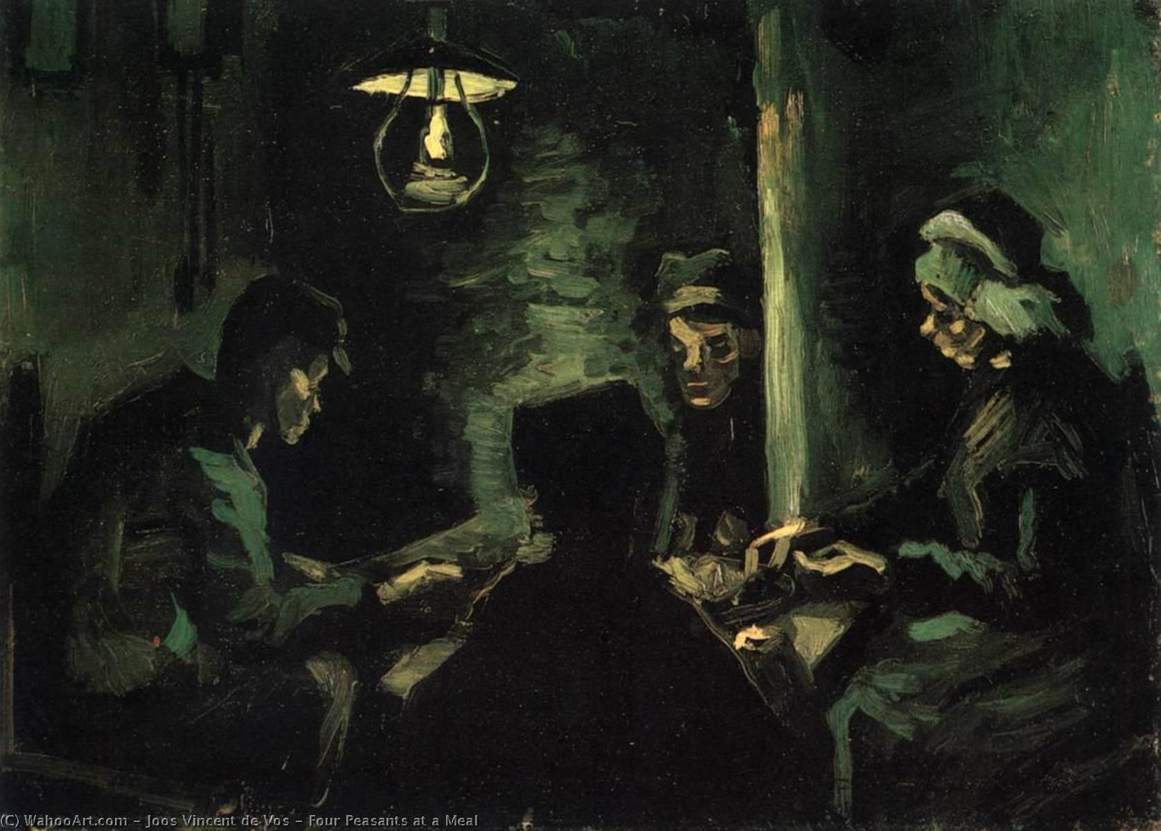 Four Peasants at a Meal, Oil On Canvas by Joos Vincent De Vos (1853-1890, Netherlands)