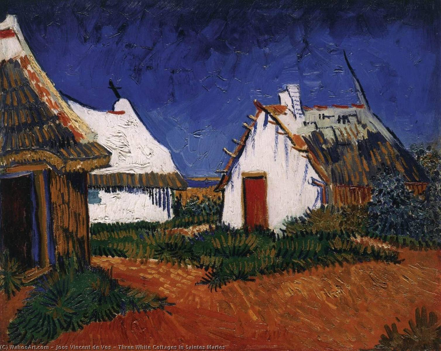 Three White Cottages in Saintes Maries, Oil On Canvas by Joos Vincent De Vos (1853-1890, Netherlands)