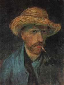 Joos Vincent De Vos - Self Portrait with Straw Hat and Pipe