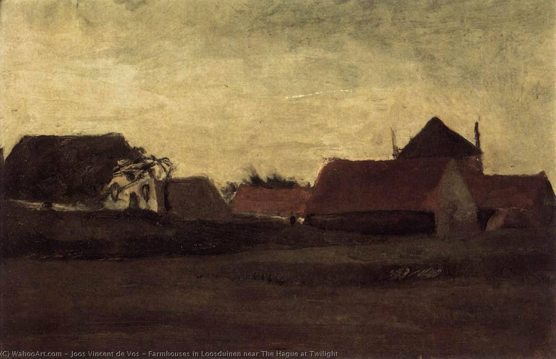 Farmhouses in Loosduinen near The Hague at Twilight, Oil On Canvas by Joos Vincent De Vos (1853-1890, Netherlands)