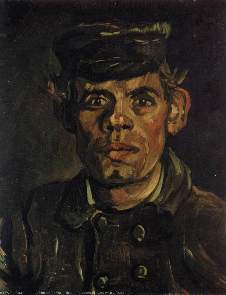 Head of a Young Peasant with a Peaked Cap, Oil On Canvas by Joos Vincent De Vos (1853-1890, Netherlands)