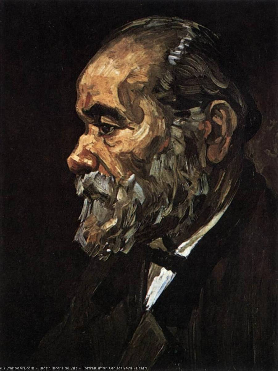 Portrait of an Old Man with Beard, Oil On Canvas by Joos Vincent De Vos (1853-1890, Netherlands)