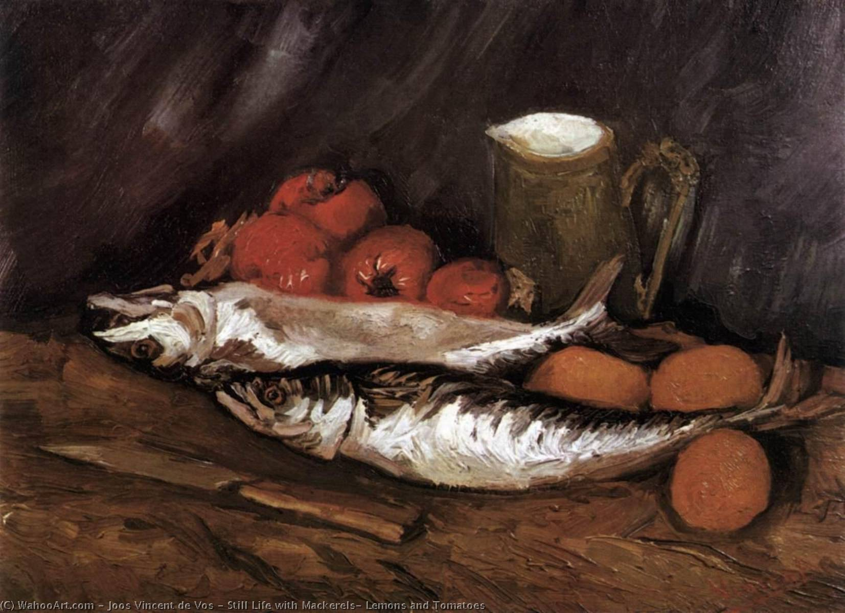 Still Life with Mackerels, Lemons and Tomatoes, Oil On Canvas by Joos Vincent De Vos (1853-1890, Netherlands)