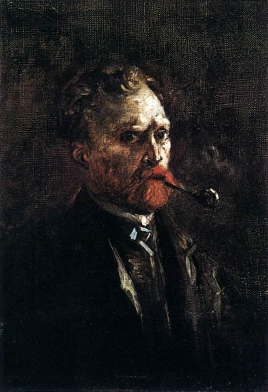 Self Portrait with Pipe, 1886 by Joos Vincent De Vos (1853-1890, Netherlands) | Reproductions Joos Vincent De Vos | WahooArt.com
