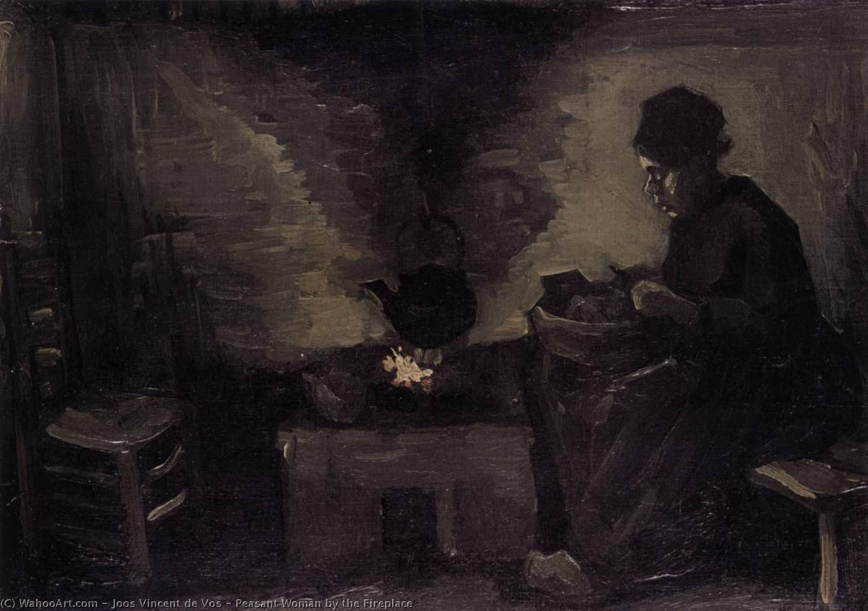 Peasant Woman by the Fireplace, Oil On Canvas by Joos Vincent De Vos (1853-1890, Netherlands)