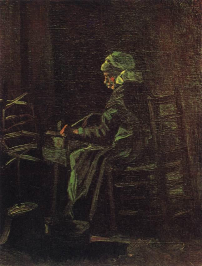 Peasant Woman at the Spinning Wheel, Oil On Canvas by Joos Vincent De Vos (1853-1890, Netherlands)