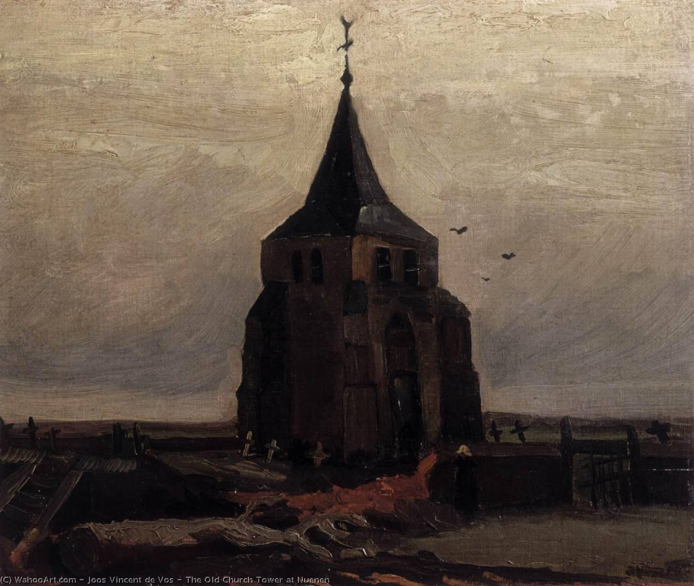 The Old Church Tower at Nuenen, Oil On Canvas by Joos Vincent De Vos (1853-1890, Netherlands)