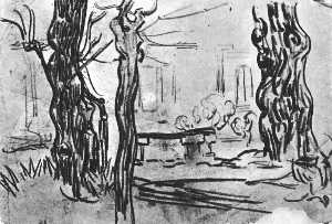 Joos Vincent De Vos - Garden of the Asylum and Tree Trunks and a Stone Bench