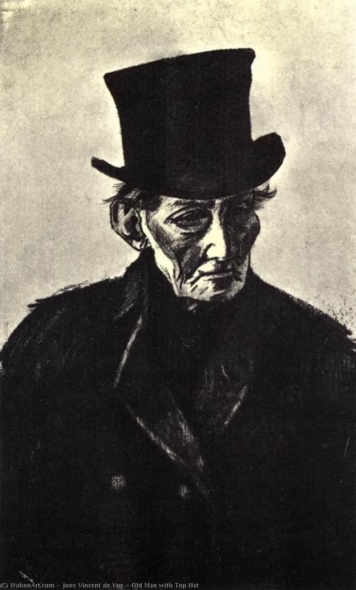 Old Man with Top Hat, Pencil by Joos Vincent De Vos (1853-1890, Netherlands)