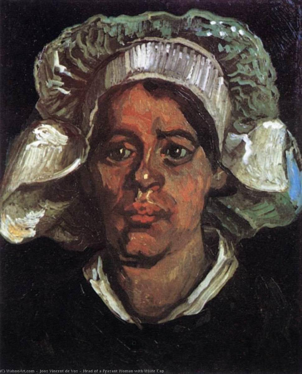 Head of a Peasant Woman with White Cap, 1884 by Joos Vincent De Vos (1853-1890, Netherlands) | Oil Painting | WahooArt.com