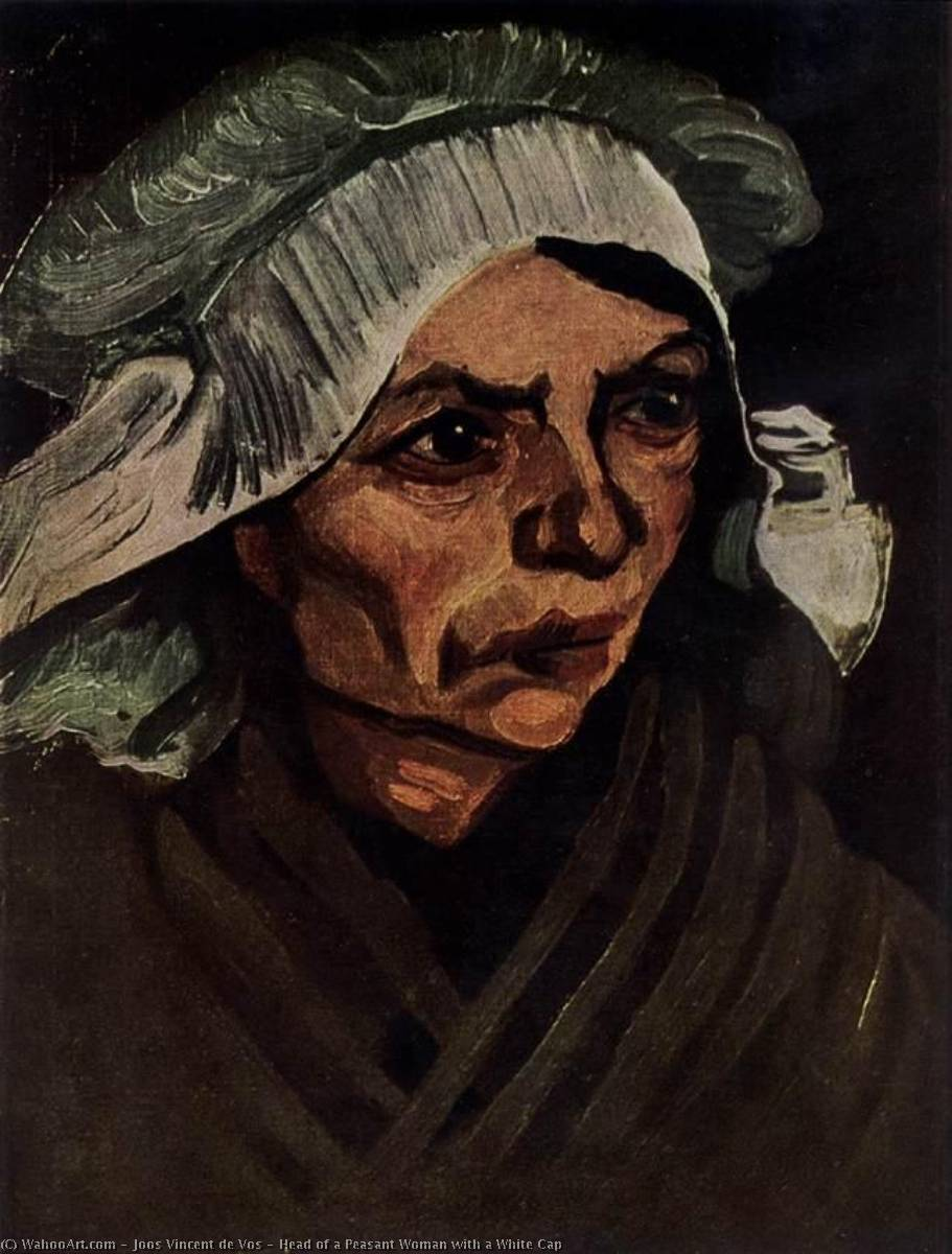Head of a Peasant Woman with a White Cap, 1885 by Joos Vincent De Vos (1853-1890, Netherlands) | Art Reproduction | WahooArt.com