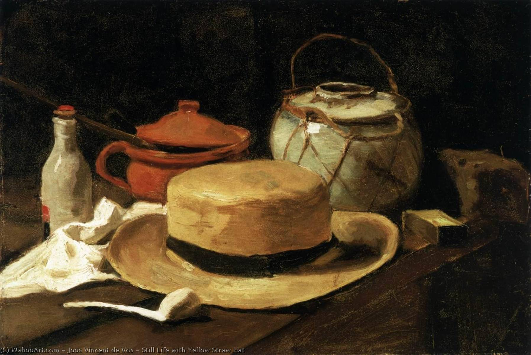 Still Life with Yellow Straw Hat, 1881 by Joos Vincent De Vos (1853-1890, Netherlands) | Oil Painting | WahooArt.com