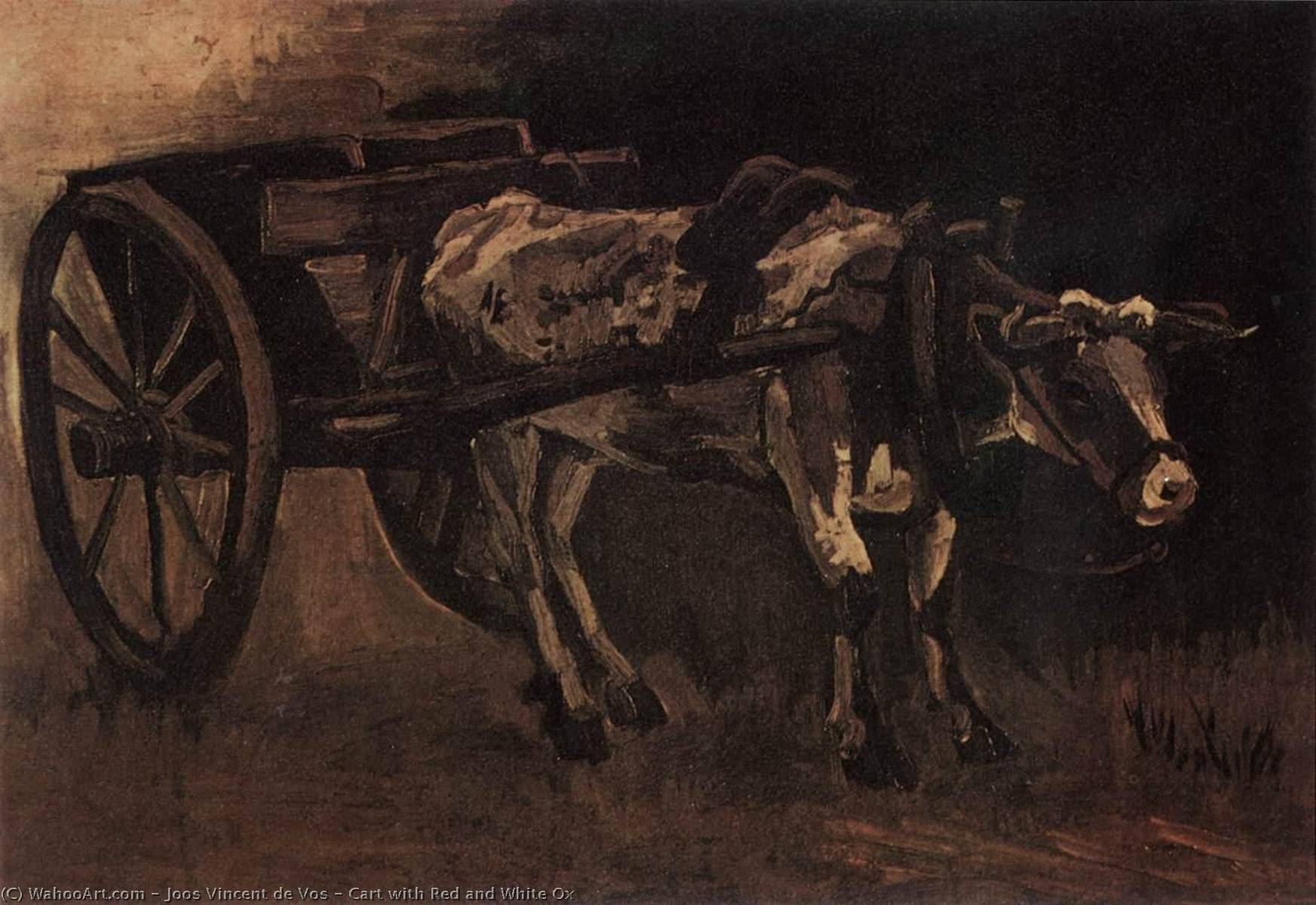Cart with Red and White Ox, Oil On Canvas by Joos Vincent De Vos (1853-1890, Netherlands)