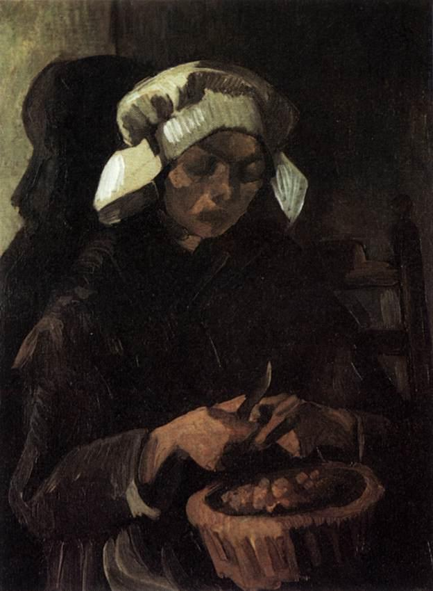 Peasant Woman Peeling Potatoes, 1885 by Joos Vincent De Vos (1853-1890, Netherlands) | Museum Quality Reproductions | WahooArt.com