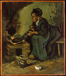 Joos Vincent De Vos - Peasant Woman Cooking by a Fireplace