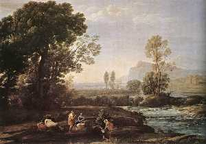 Claude Lorrain (Claude Gellée) - Landscape with the Rest during the Flight into Egypt