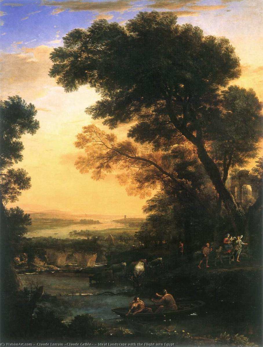 Ideal Landscape with the Flight into Egypt, 1663 by Claude Lorrain (Claude Gellée) | Art Reproduction | WahooArt.com