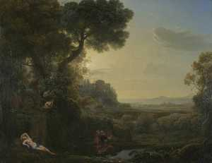 Claude Lorrain (Claude Gellée) - Landscape with Narcissus and Echo