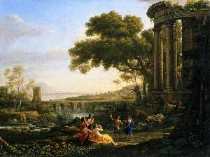 Claude Lorrain (Claude Gellée) - Landscape with Nymph and Satyr Dancing