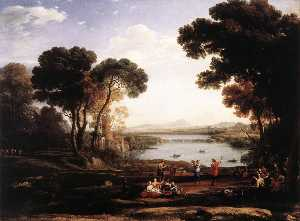 Claude Lorrain (Claude Gellée) - Landscape with Dancing Figures (also known as The Mill)