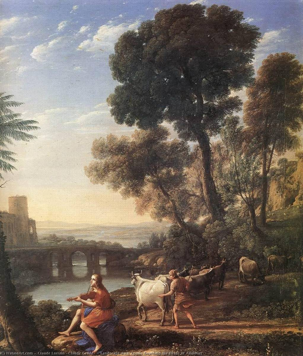 Landscape with Apollo Guarding the Herds of Admetus, 1645 by Claude Lorrain (Claude Gellée) (1600-1682) | Reproductions Claude Lorrain (Claude Gellée) | WahooArt.com