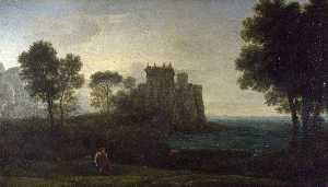 Claude Lorrain (Claude Gellée) - The Enchanted Castle (also known as Landscape with Psyche outside the Palace of Cupid)