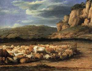 Claude Lorrain (Claude Gellée) - Flock of Sheep in the Campagna