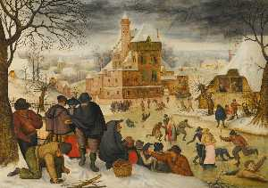 Pieter Brueghel The Younger - A winter landscape with skaters