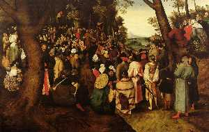 Pieter Brueghel The Younger - A Landscape With Saint John The Baptist Preaching