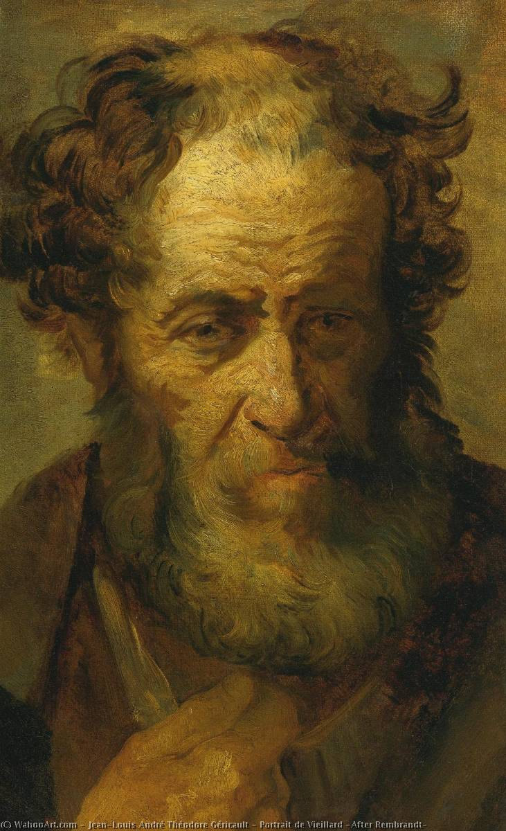 Order Paintings Reproductions | Portrait de Vieillard (After Rembrandt) by Jean-Louis André Théodore Géricault (1791-1824, France) | WahooArt.com