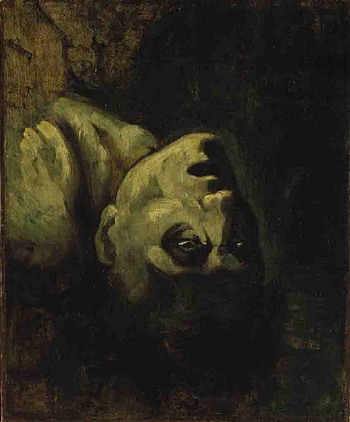 English Head of a Drowned Man, Paper by Jean-Louis André Théodore Géricault (1791-1824, France)
