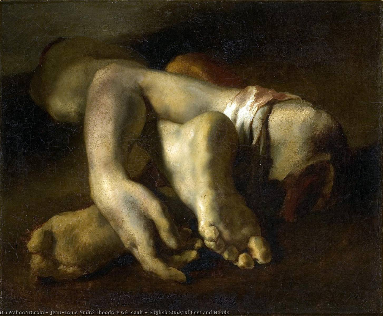 English Study of Feet and Hands, Oil On Canvas by Jean-Louis André Théodore Géricault (1791-1824, France)