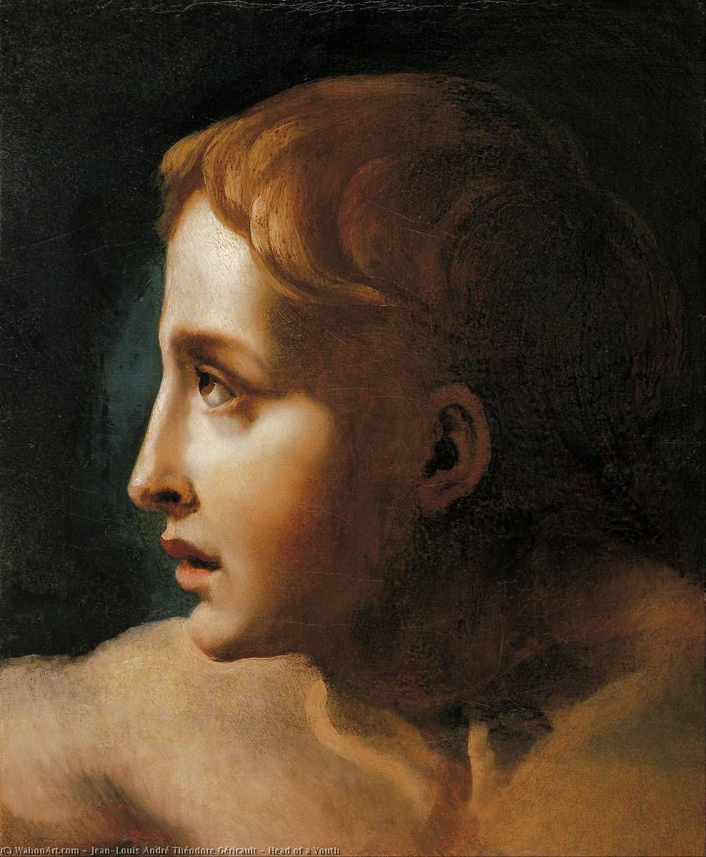 Order Art Reproductions | Head of a Youth, 1824 by Jean-Louis André Théodore Géricault (1791-1824, France) | WahooArt.com