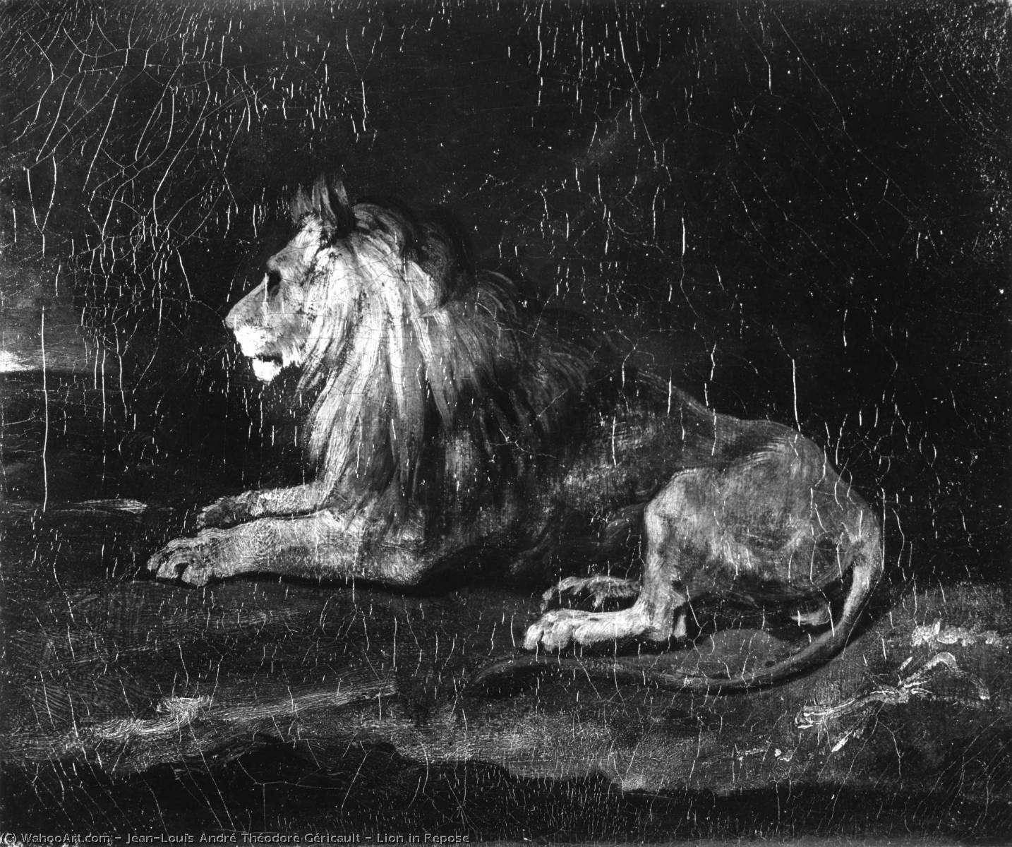 Lion in Repose, Oil On Canvas by Jean-Louis André Théodore Géricault (1791-1824, France)