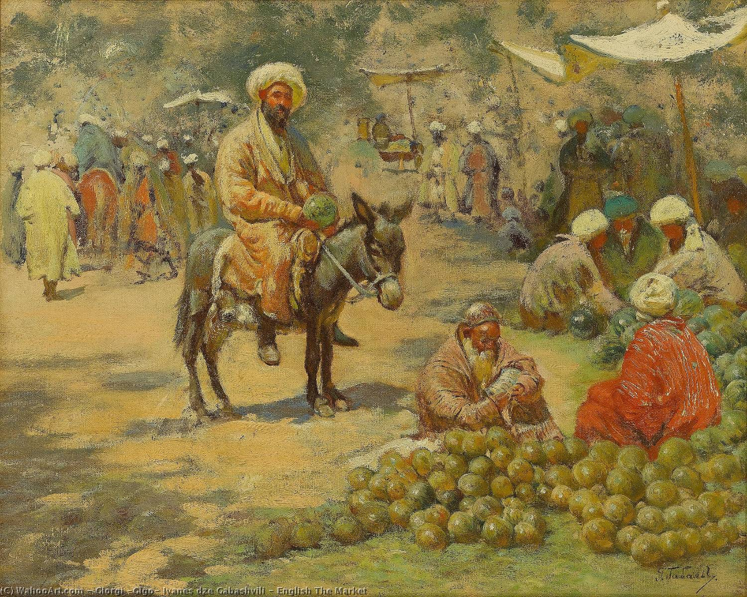 English The Market, 1937 by Giorgi (Gigo) Ivanes Dze Gabashvili (1862-1936, Russia) | Museum Quality Reproductions | WahooArt.com