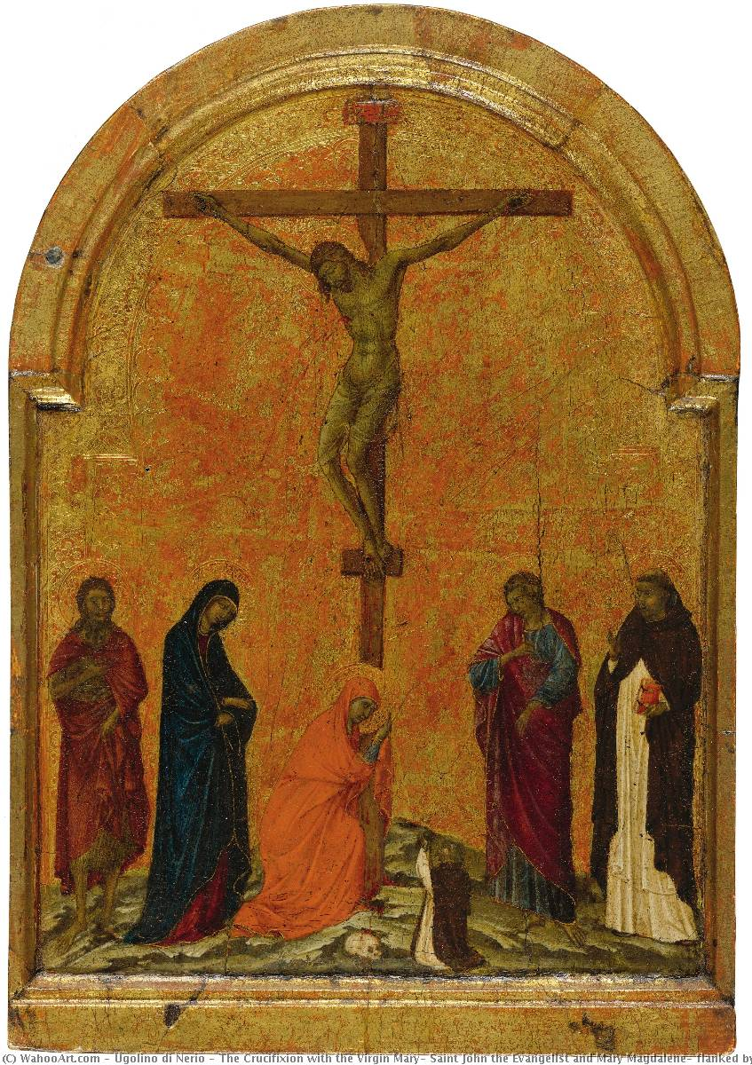 The Crucifixion with the Virgin Mary, Saint John the Evangelist and Mary Magdalene, flanked by Saints John the Baptist and Dominic by Ugolino Di Nerio (1280-1330, Italy) | Museum Quality Copies Ugolino Di Nerio | WahooArt.com