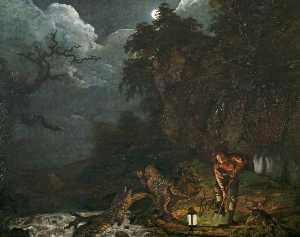 Joseph Wright Of Derby - Earthstopper on the Banks of the Derwent