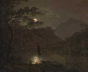 Joseph Wright Of Derby - A Lake by Moonlight